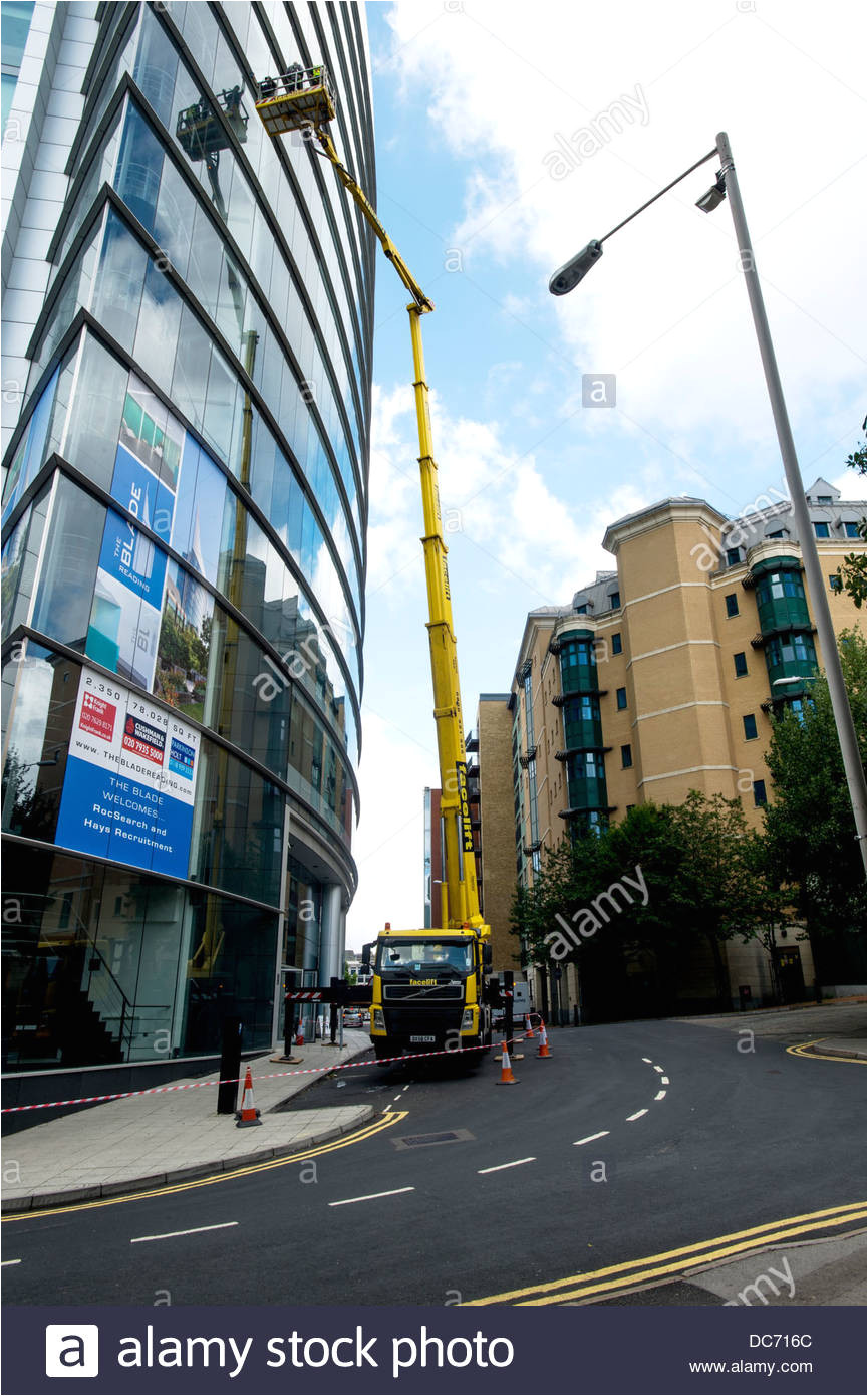 window cleaning at the point reading berkshire uk stock image