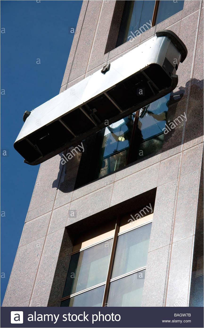 modern glass office window cleaning platform high stock image