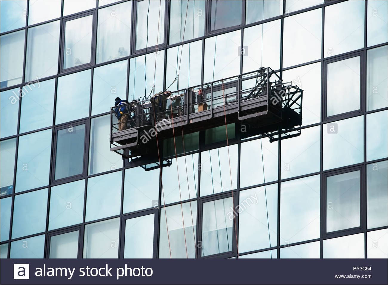 usa new york city manhattan window cleaning platform on building stock image