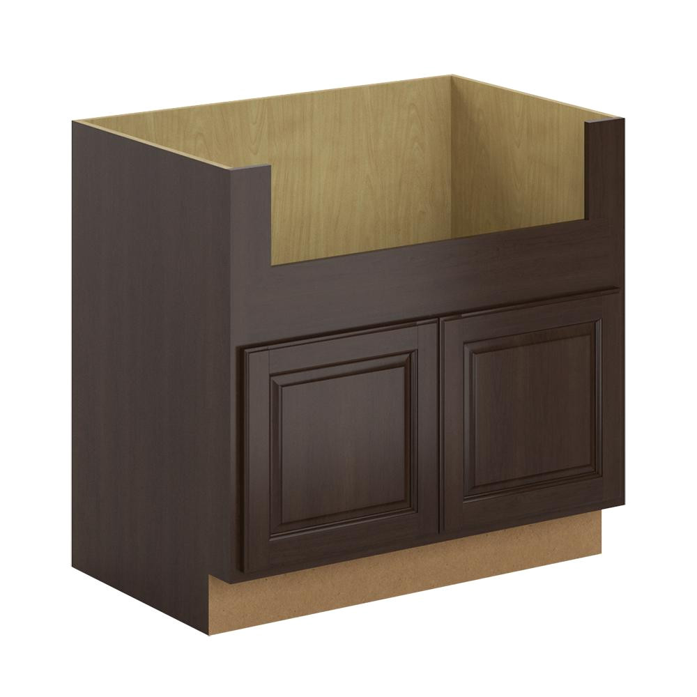 farmhouse apron front sink base cabinet in java