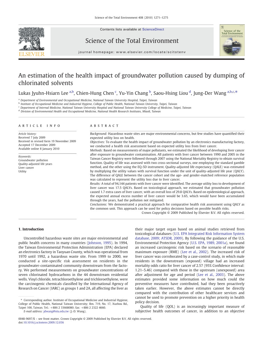 pdf health risk assessment on residents living with groundwater contaminated by chlorinated hydrocarbons