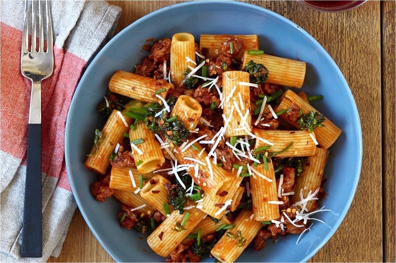 justin severino s recipe for rigatoni with italian sausage and rapini red sauce wsj