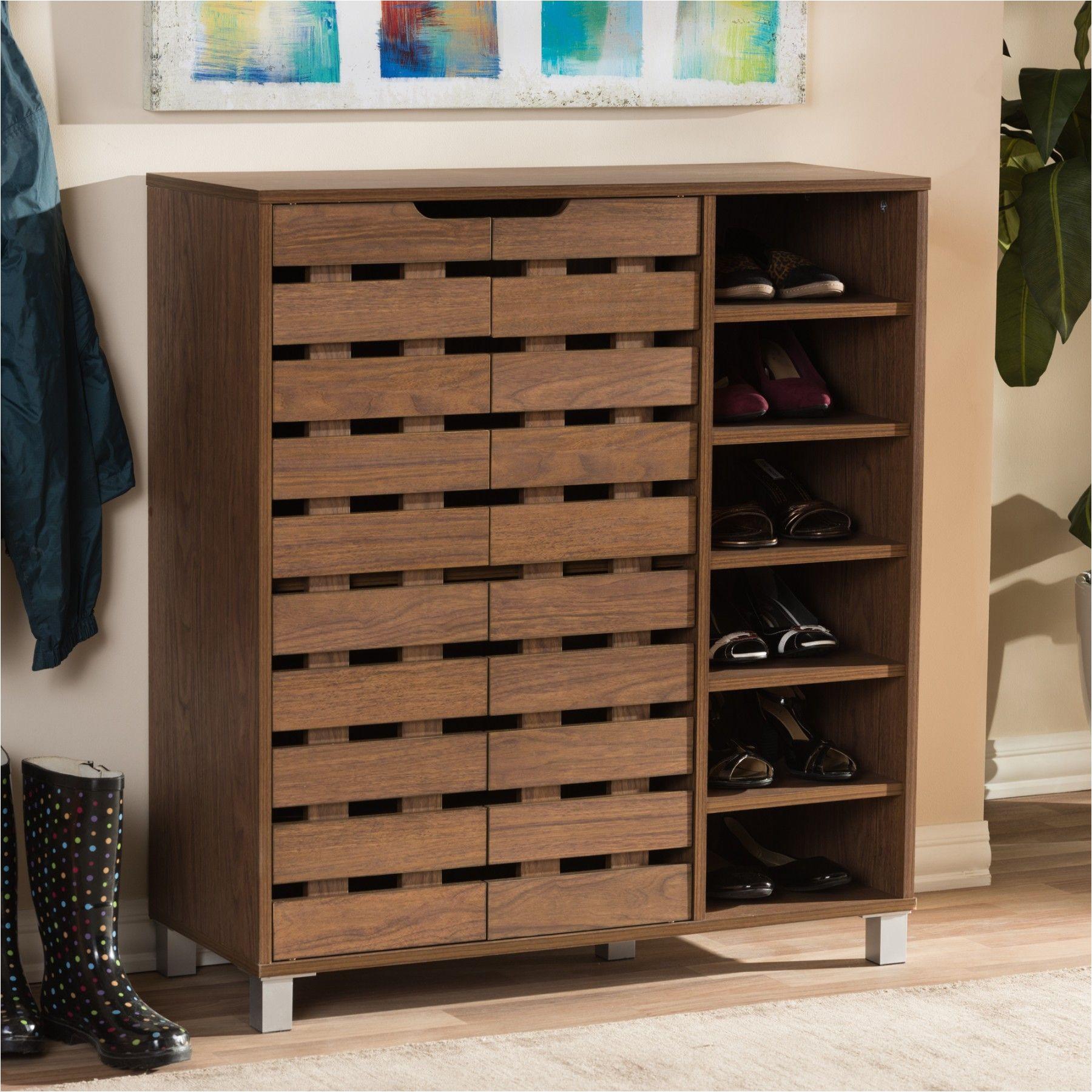 shirley walnut medium brown wood 2 door shoe cabinet with open shelves