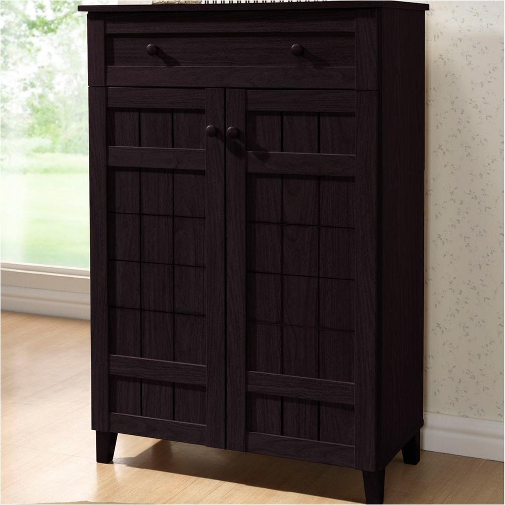 glidden dark brown wood tall storage cabinet