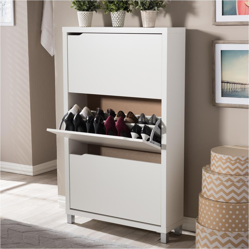 Home Depot Shoe Storage Cabinets Martha Stewart Living 24 In Classic White Shoe Shelf 3 Pack W6