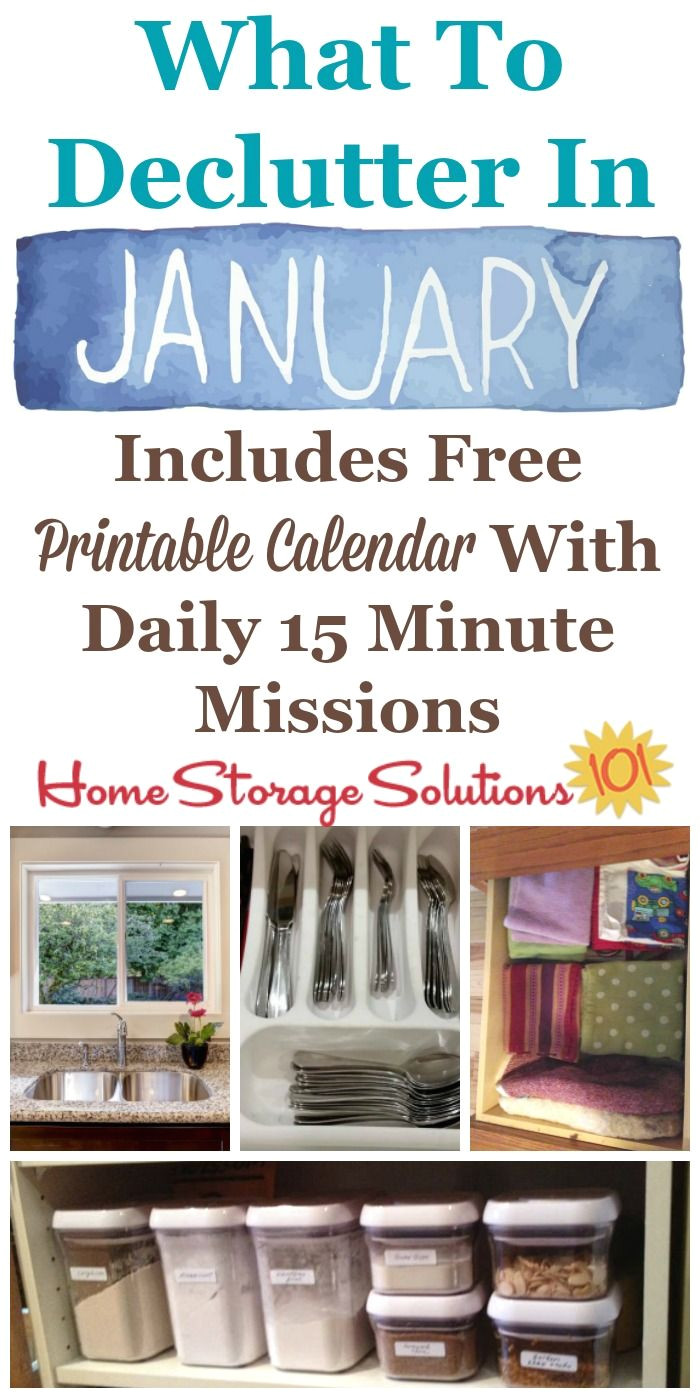 january declutter calendar 15 minute daily missions for month organizing tipsorganization ideascleaning