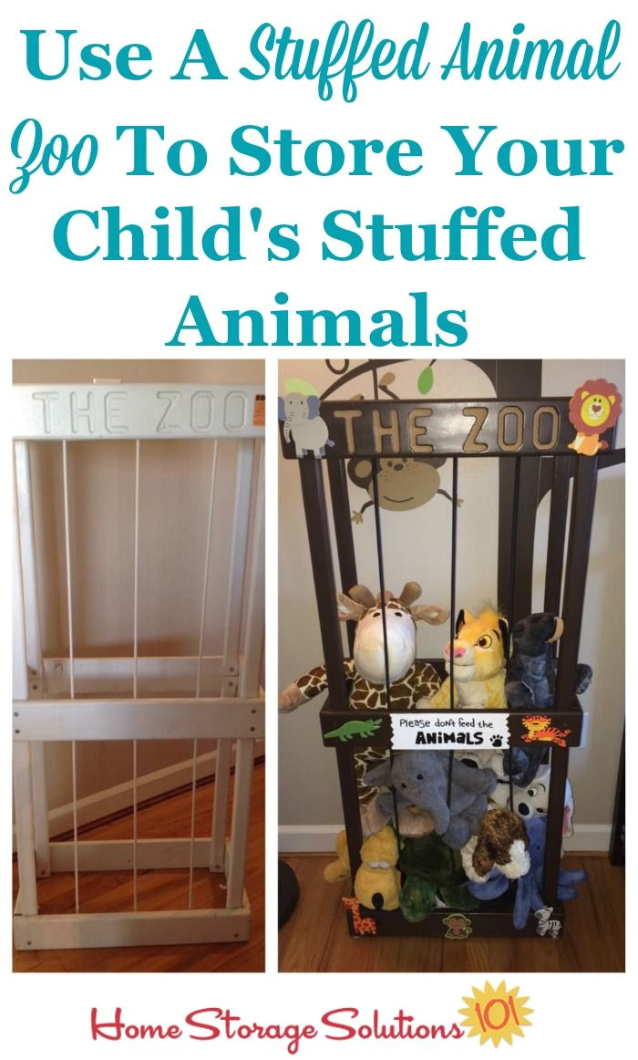 use a stuffed animal zoo to store your child s stuffed animals our first home pinterest home storage solutions storage solutions and toy storage