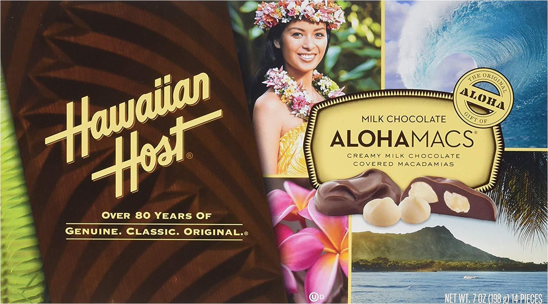 amazon com hawaiian host alohamacs milk chocolate the original chocolate covered macadamia nut 14 ounce candy and chocolate covered nut snacks