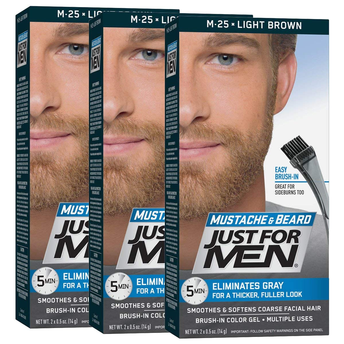 amazon com just for men mustache beard brush in color gel light brown pack of 3 chemical hair dyes beauty