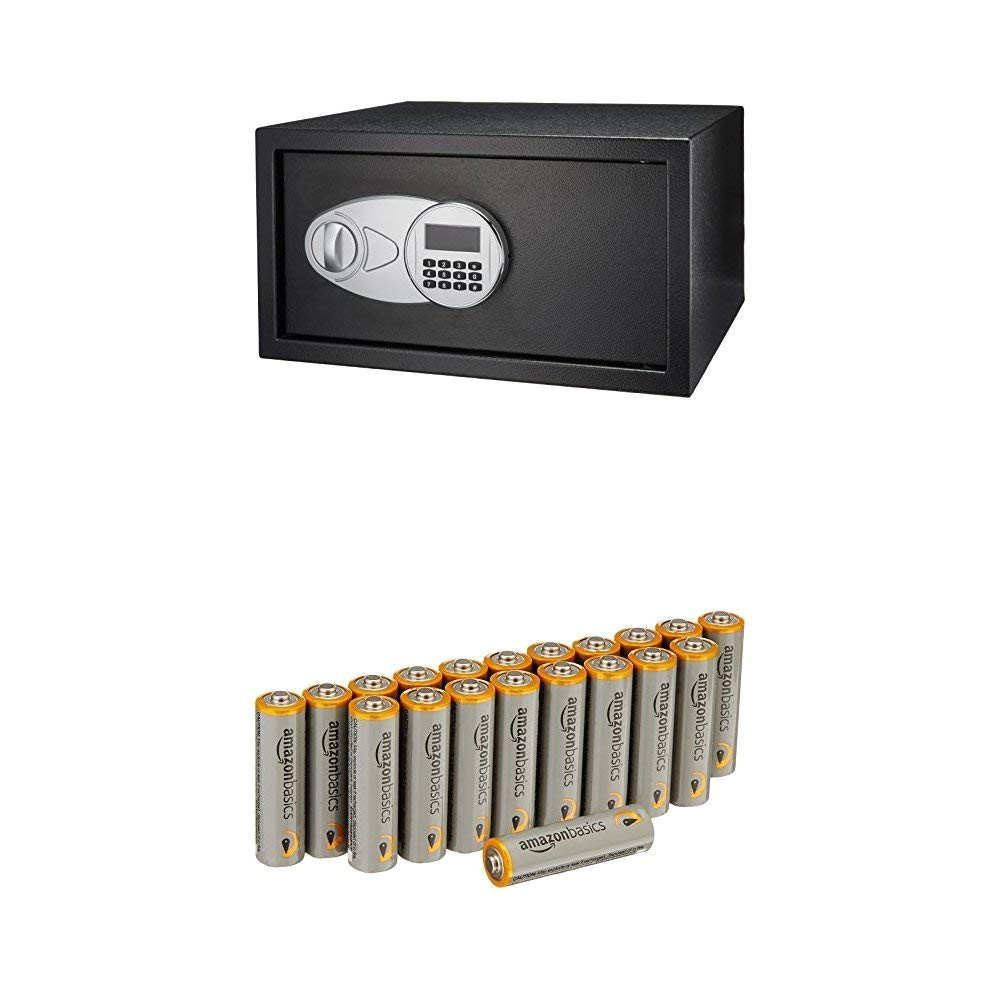 amazonbasics security safe 1 2 cubic feet amazonbasics aa performance alkaline batteries 20 pack amazon com