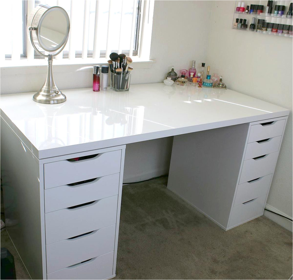 white minimalist makeup vanity and storage ikea linnmon and alex a long linnmon table top makes it easy to create a workspace for two ikea alex drawer