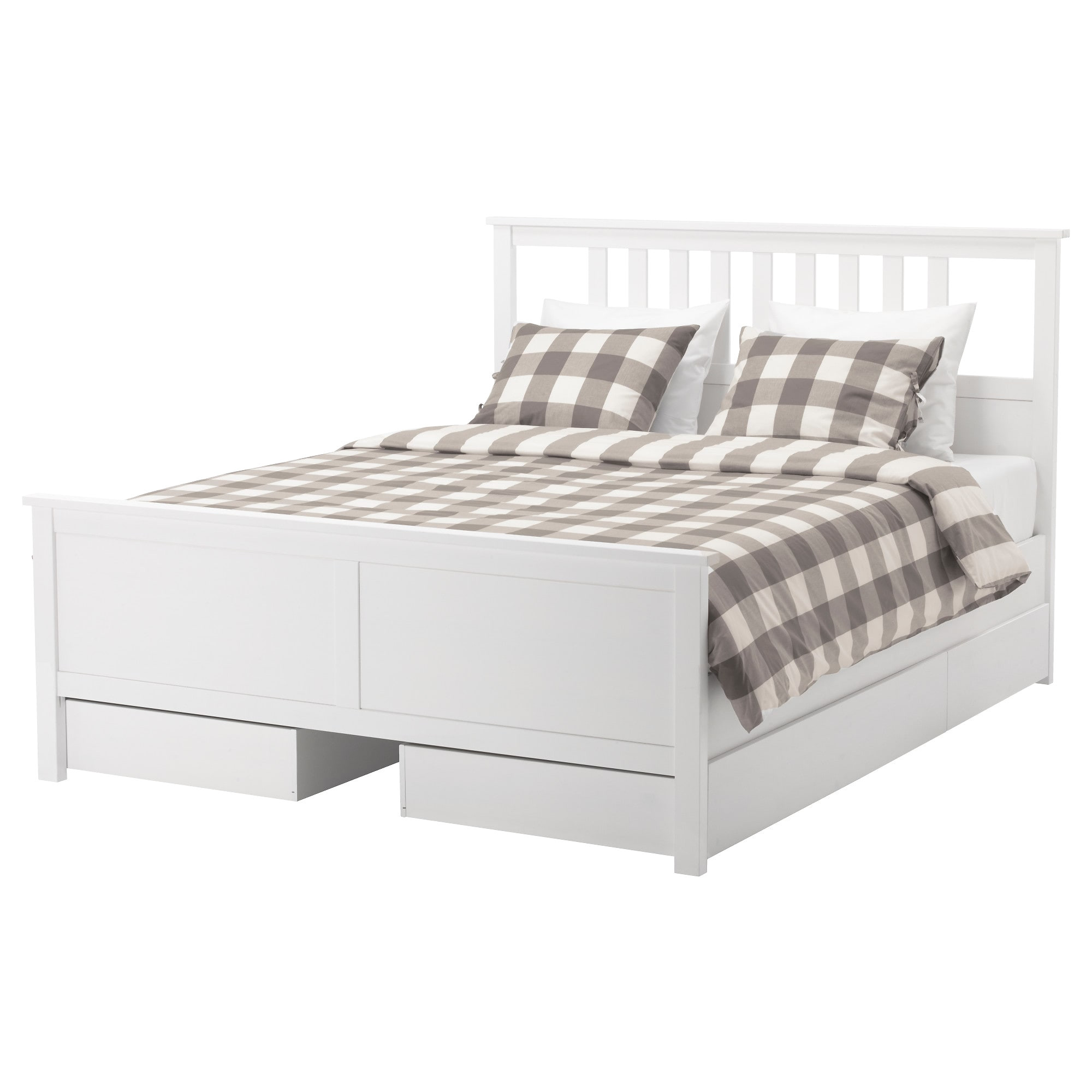 hemnes bed frame with 4 storage boxes white stain lur y standard double ikea