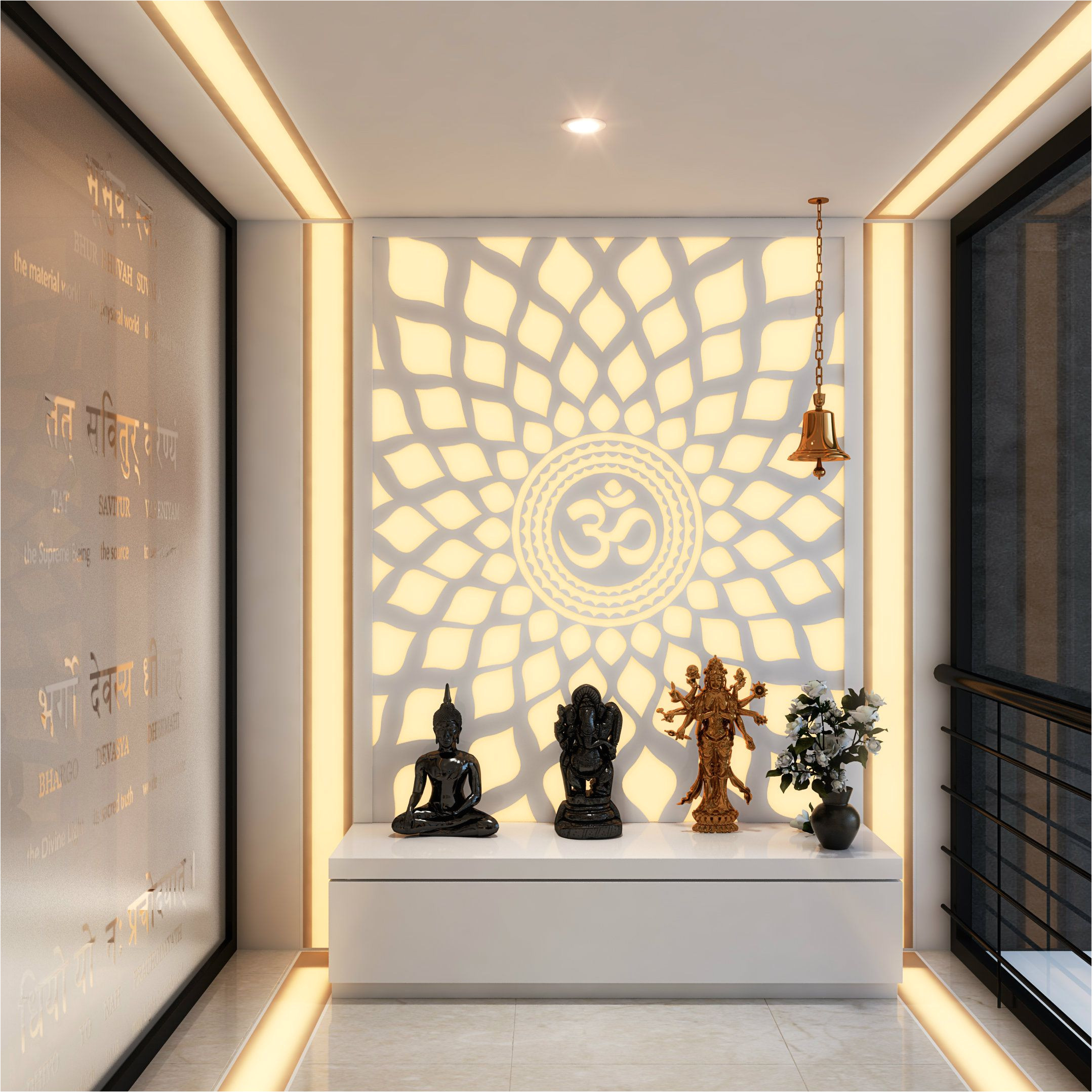 a hypnotic aum back lit panel in the pooja room