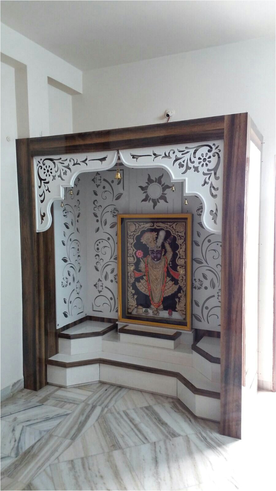 mdf cutting arch and walls mandir design pooja room design temple room