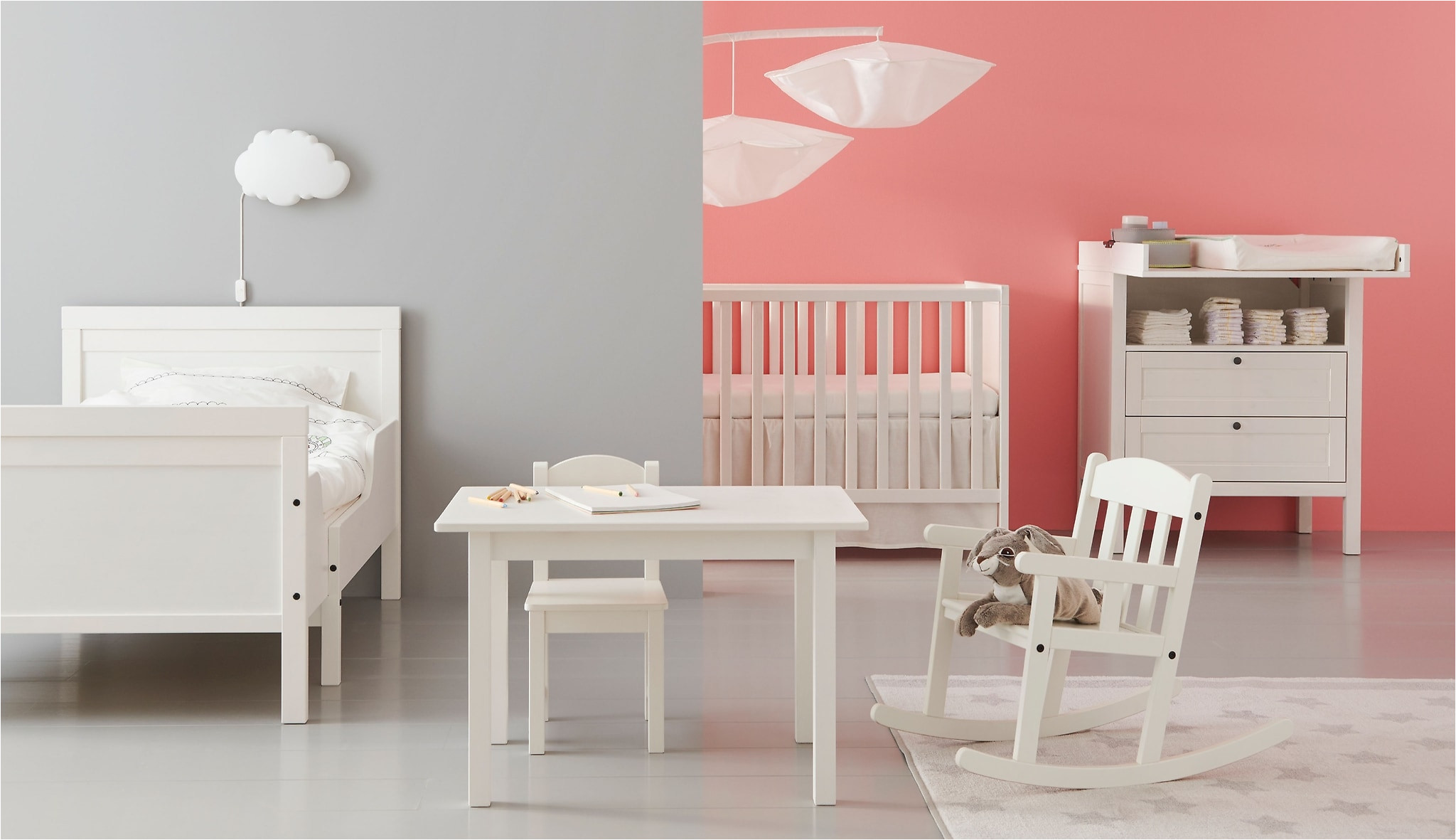 table chair cot changing table and even a rocking chair all in