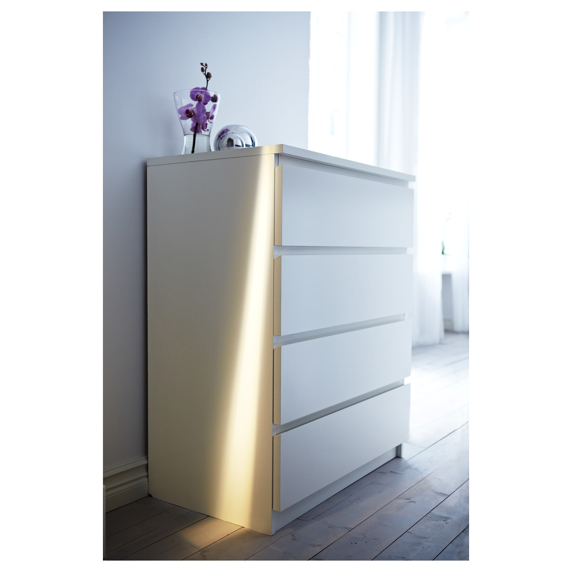 ikea malm chest of 4 drawers smooth running drawers with pull out stop