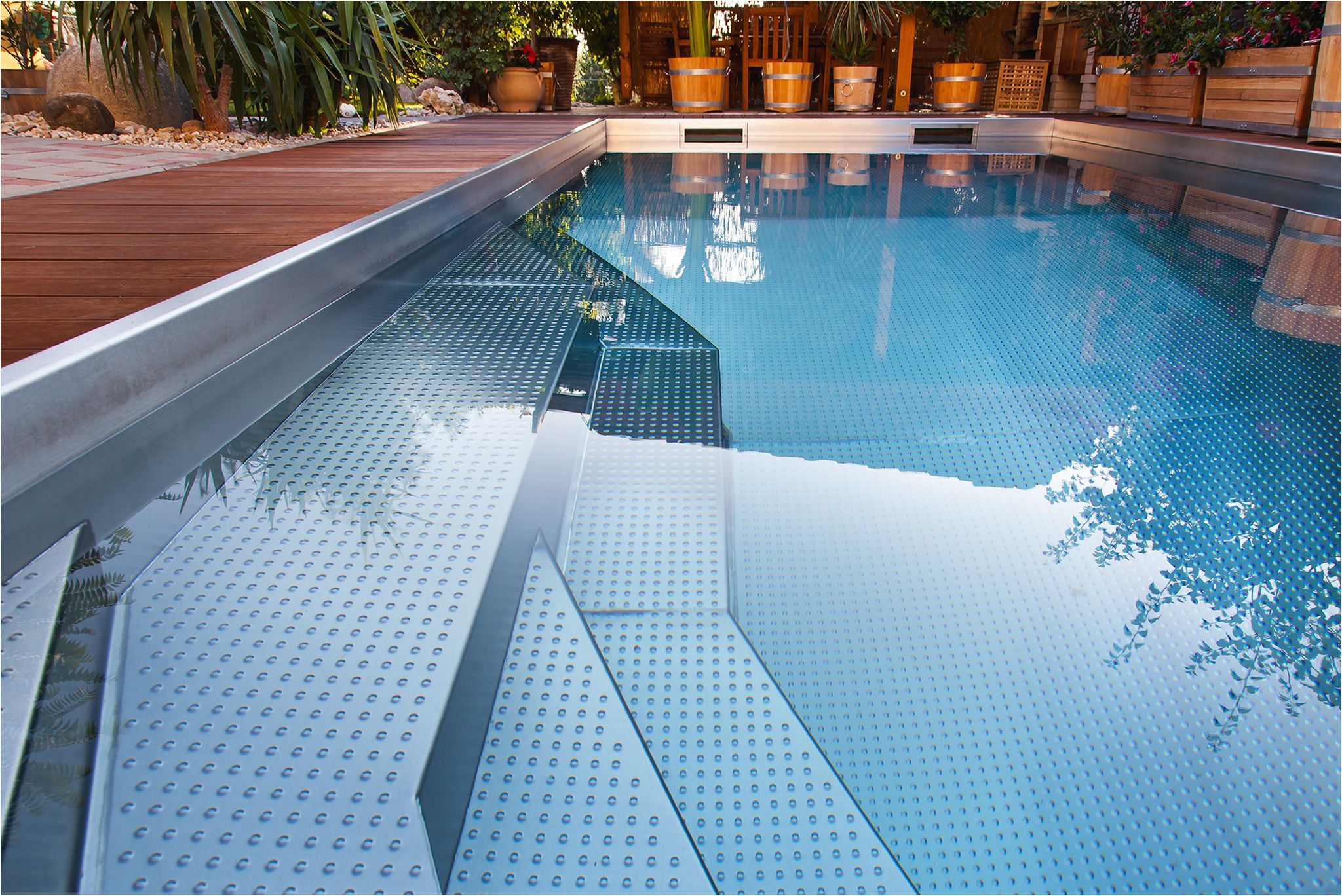 detail of stainless steel pool