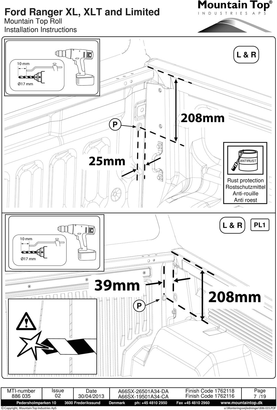 ford ranger xl xlt and limited mountain top roll installation instructions pdf