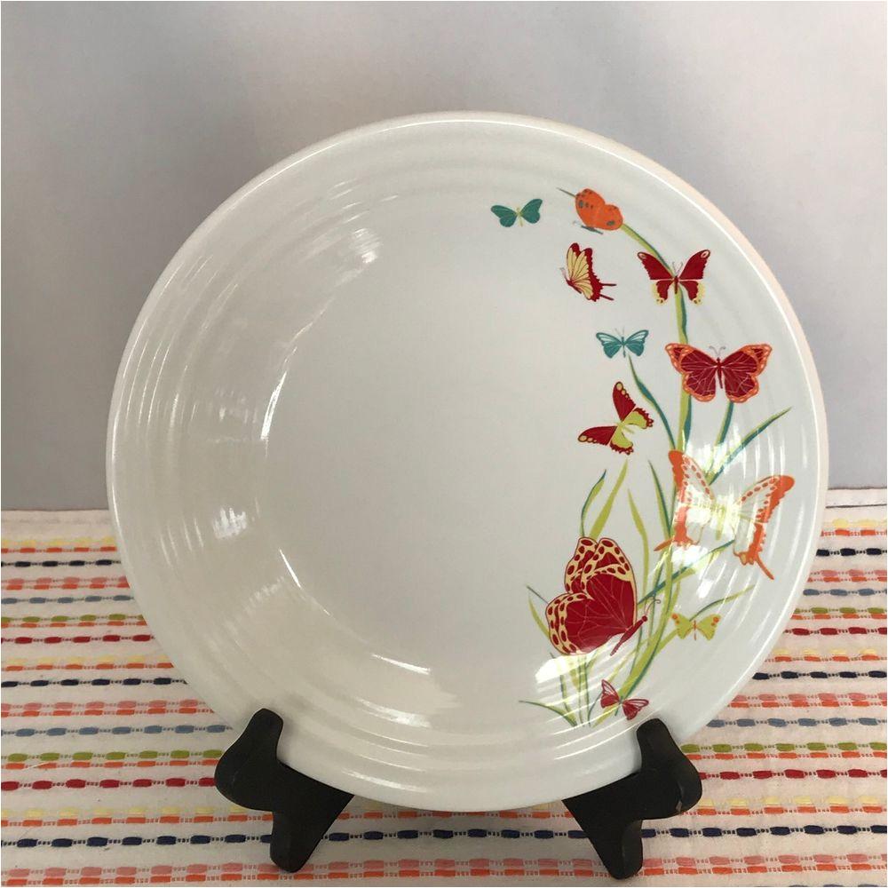 fiestaware white butterflies lunch plate fiesta exclusive 9 in luncheon fiestaware fiesta butterflies madeinusa