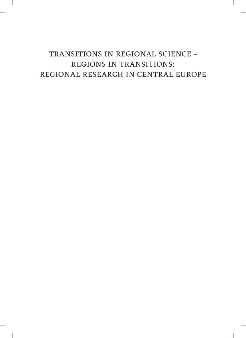 pdf transitions in regional science regions in transitions regional research in central europe