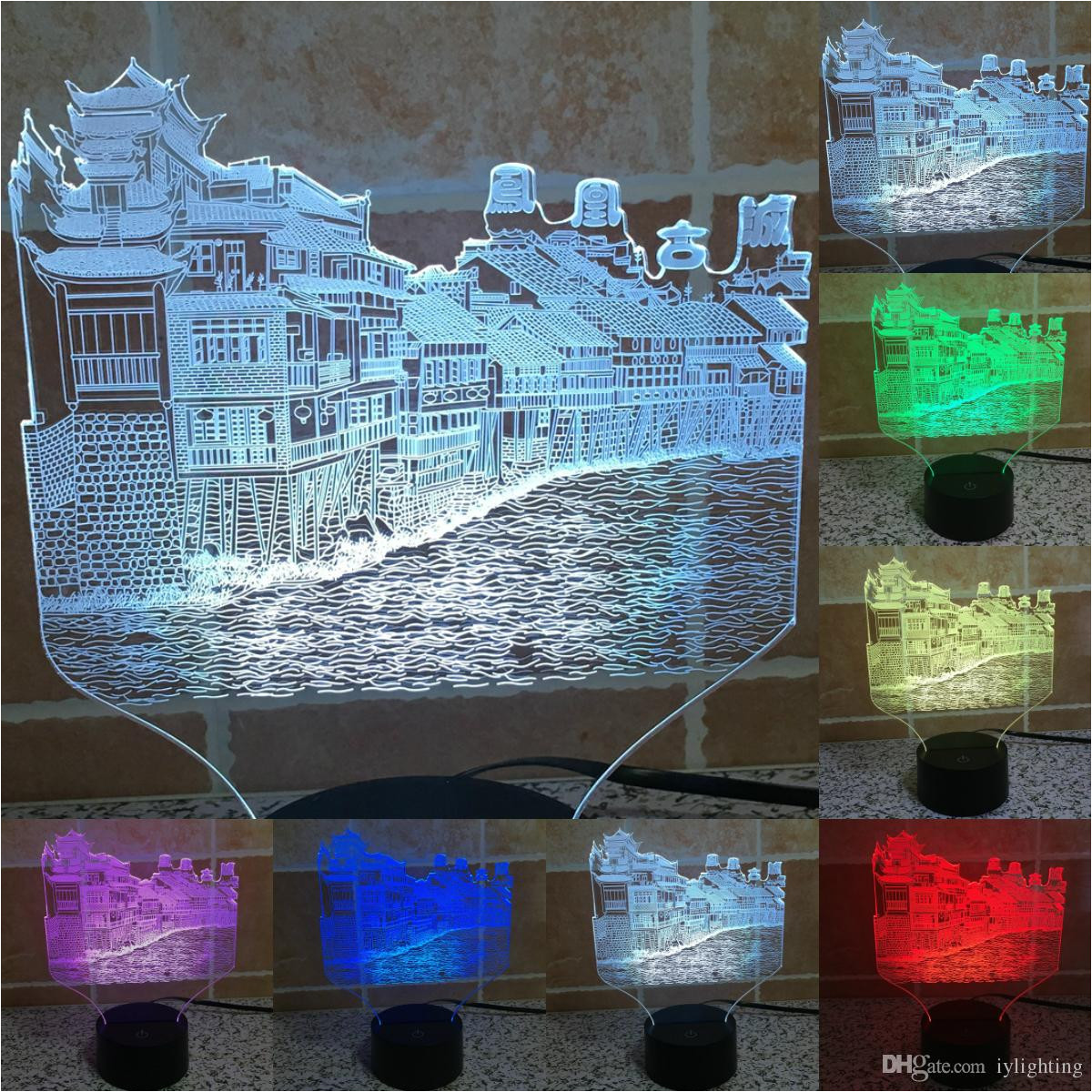 2018 creative chinese historical city of phoenix 3d light usb led touch switch changing visual illusion night light iy803515 from iylighting