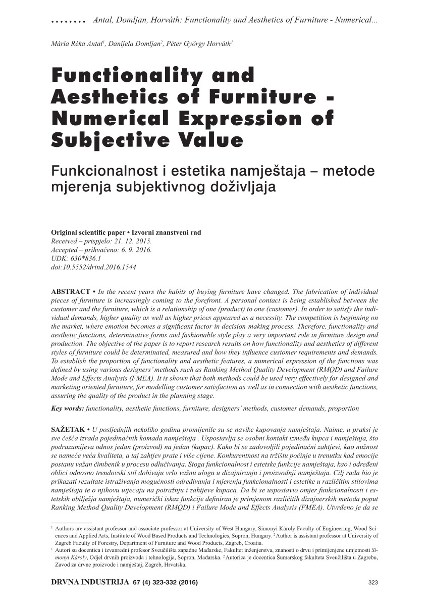 pdf functionality and aesthetics of furniture numerical expression of subjective value