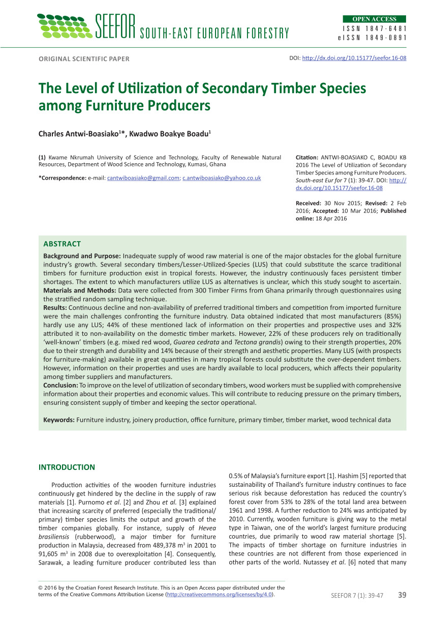 pdf timber management practices and timber species used by small scale furniture workshops in uganda