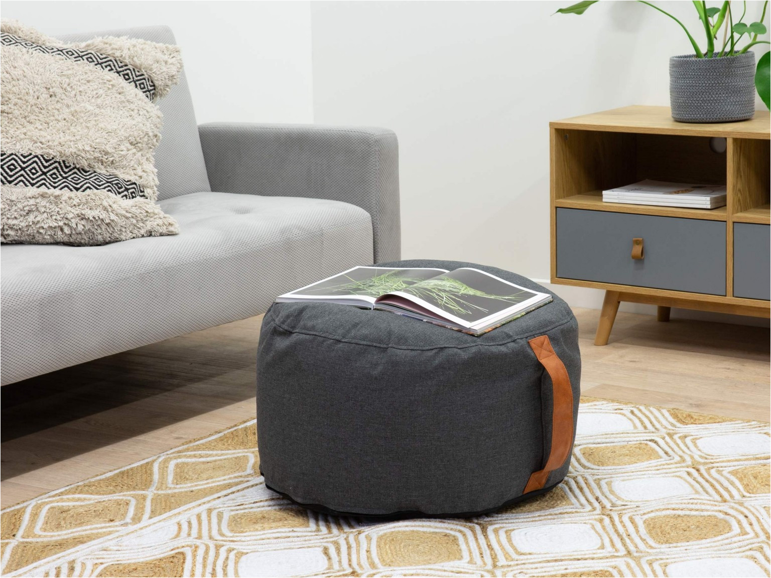 mocka lizzie bean bag ottoman with sienna rug and charli entertainment unit