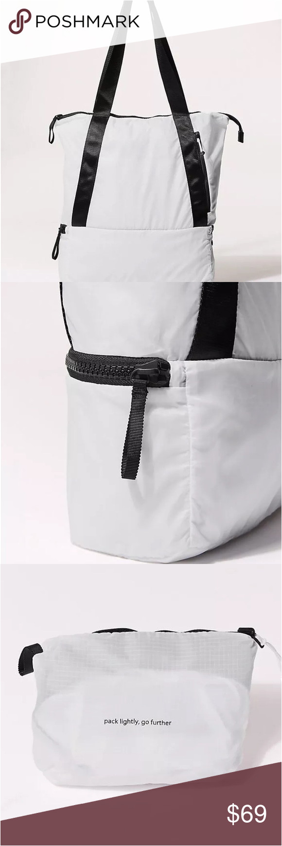 new lululemon go lightly tote packable brand new with tag color white dimensions