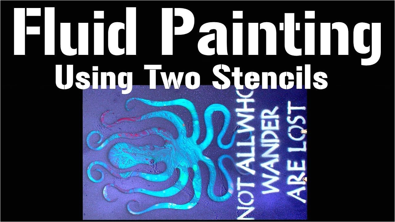 fluid acrylic pouring demo with stencils sign making