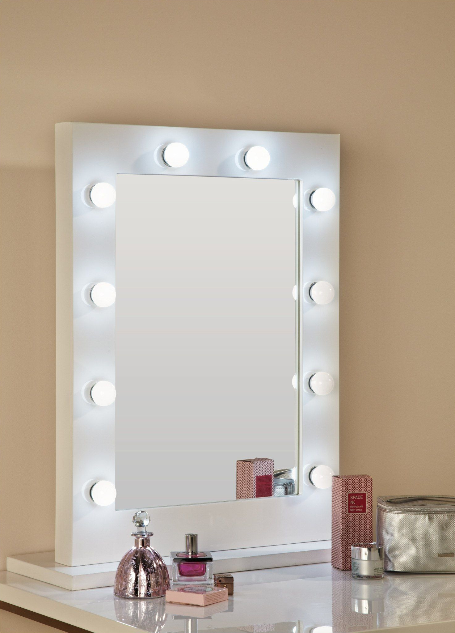 mirrors hollywood mirror in white gloss 80 x 60cm