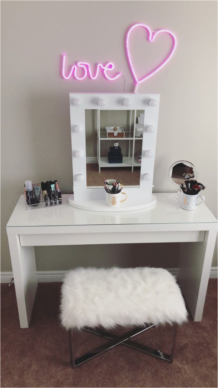 make up vanity inspiration the malm dressing table was purchased from ikea the vanity mirror neon lights were purchased from amazon