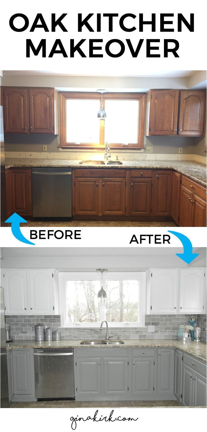 fixer upper inspired design space oak kitchen cabinet makeover two toned gray and white