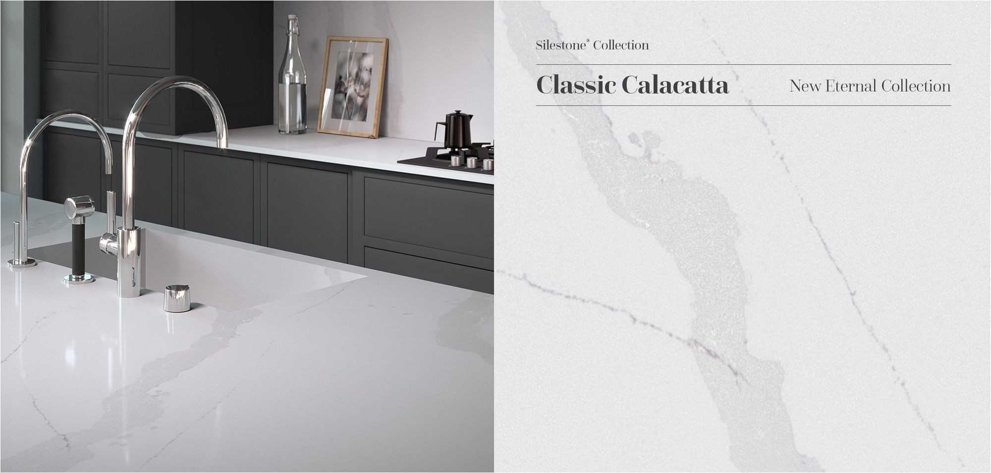 elegant and subtle silestone classic calacatta reinterprets coveted calacatta marble its uniform grayish veins stretch across the slab with a translucent