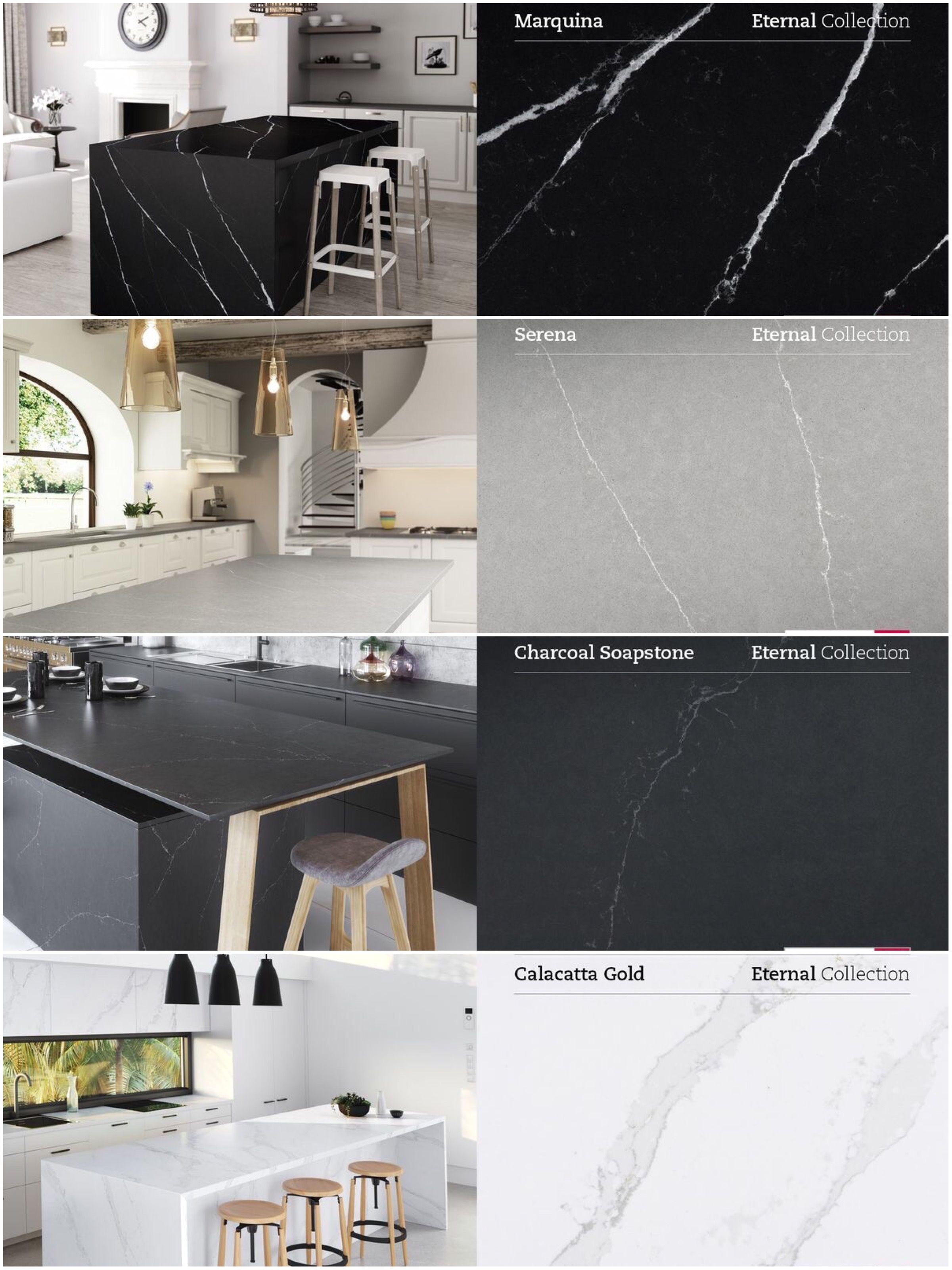 silestone eternal collection marmer look in quarts soapstone granite kitchen modern kitchen