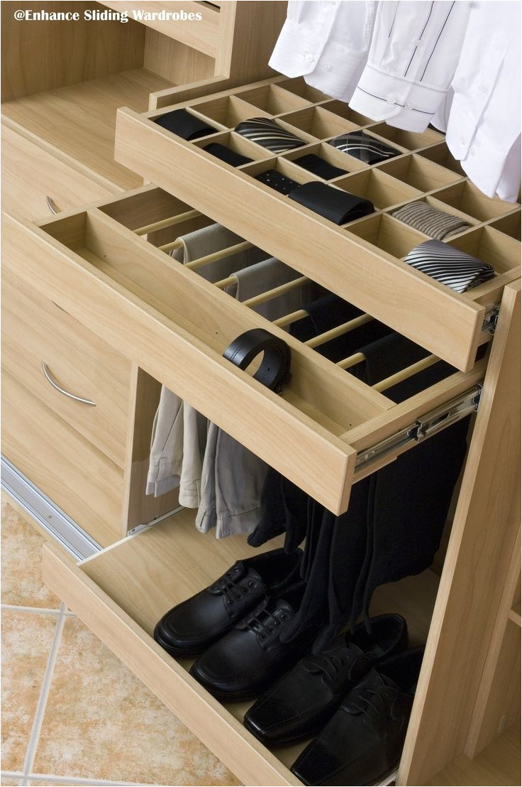 divided drawer trouser rack and pull out shoe shelf in oak storage organize