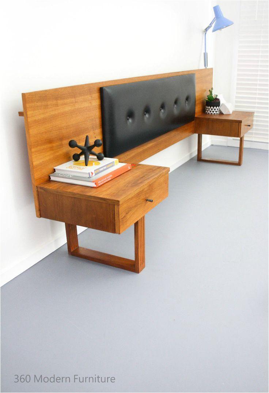 mid century teak bedside tables drawers bedhead retro vintage danish scandi era in home garden furniture bedroom furniture
