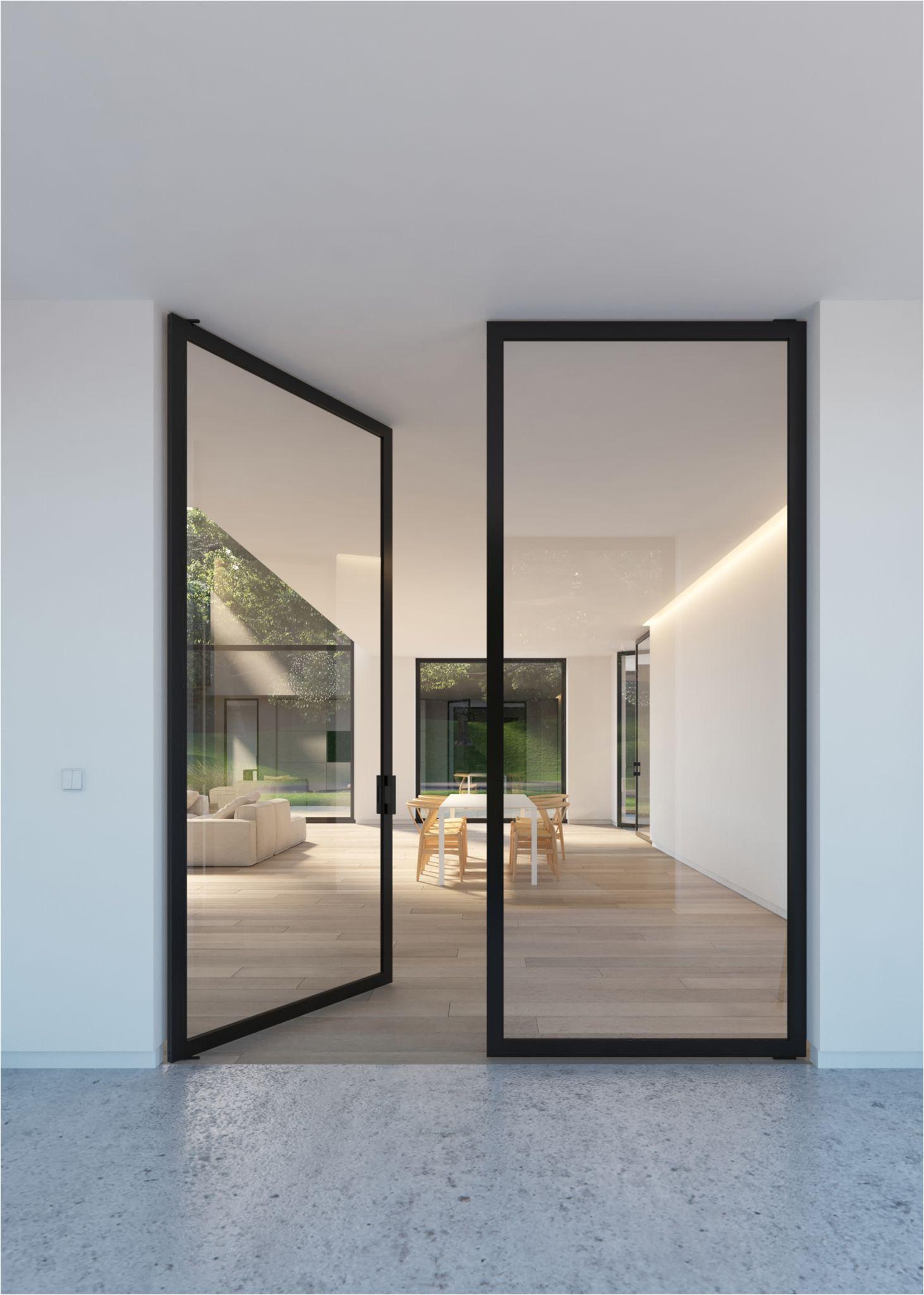 double glass door with steel look frames portapivot