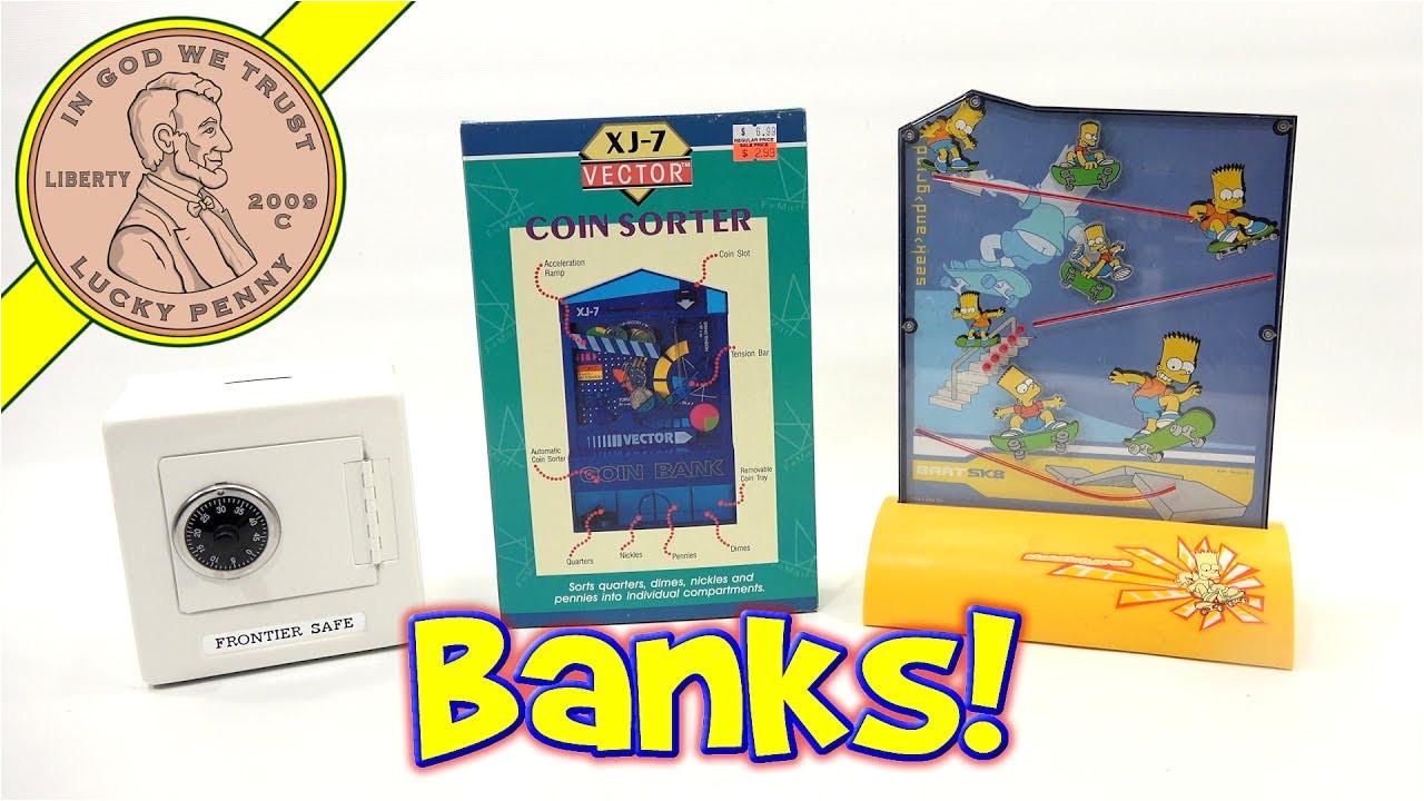 banks xj 7 vector coin sorter frontier safe bart simpson skateboard bank