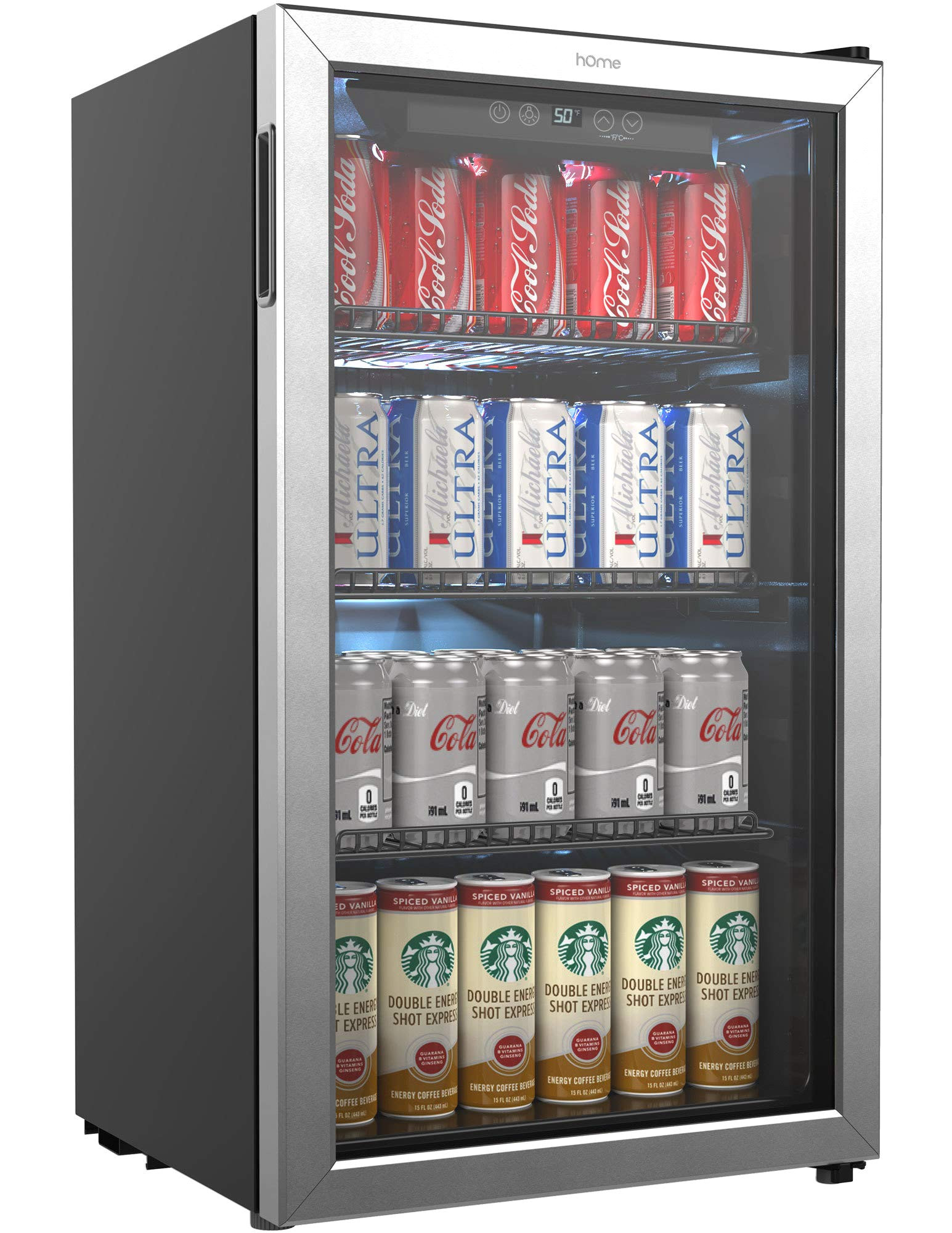 homelabs beverage refrigerator and cooler 120 can mini fridge with glass door for soda beer or wine small drink dispenser machine for office or bar with