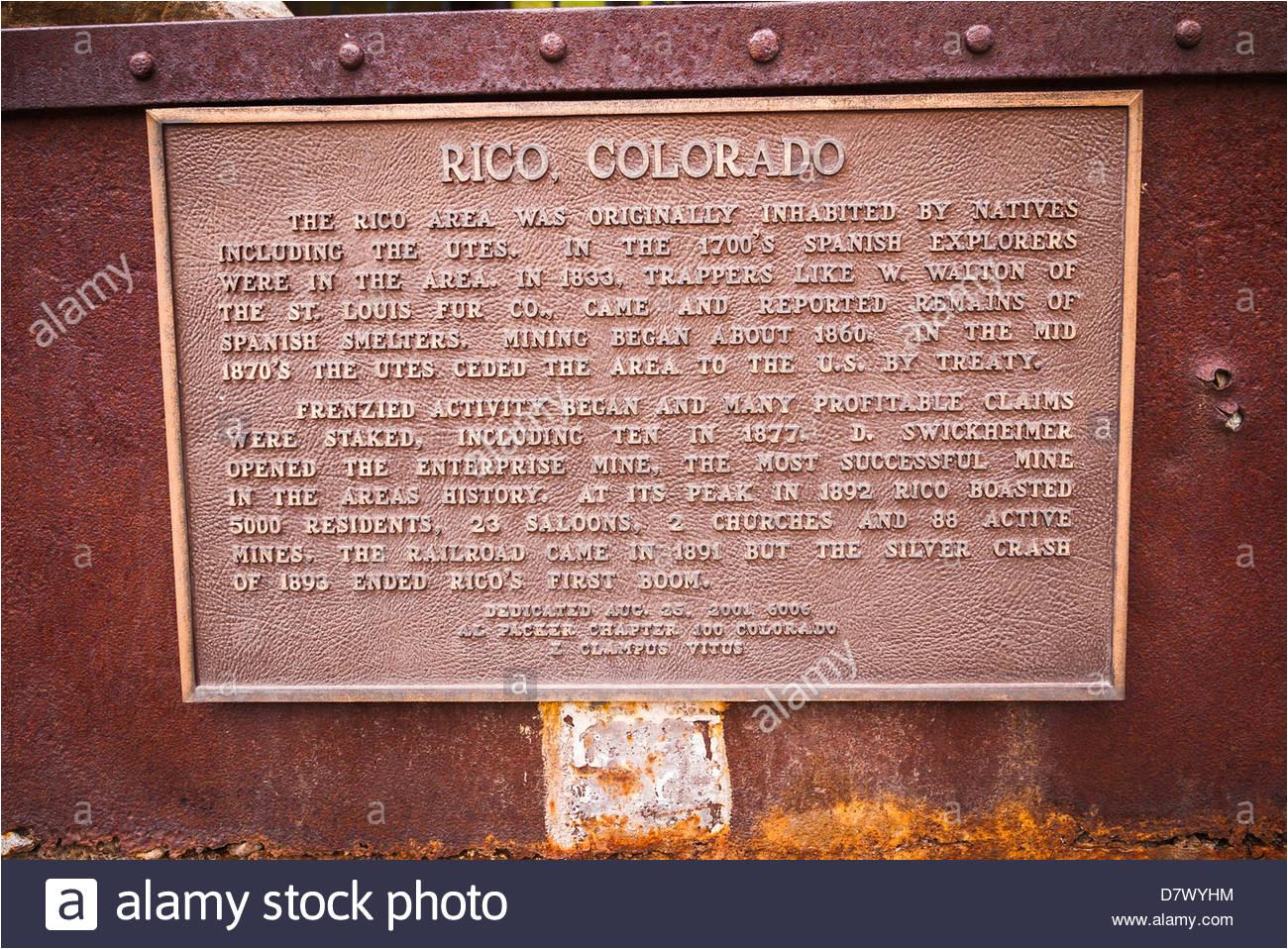 ore cart and interpretive plaque at the rico silver mine rico colorado usa