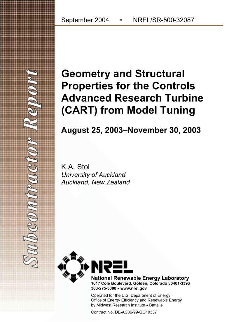 pdf geometry and structural properties for the controls advanced research turbine cart from model tuning august 25 2003november 30 2003