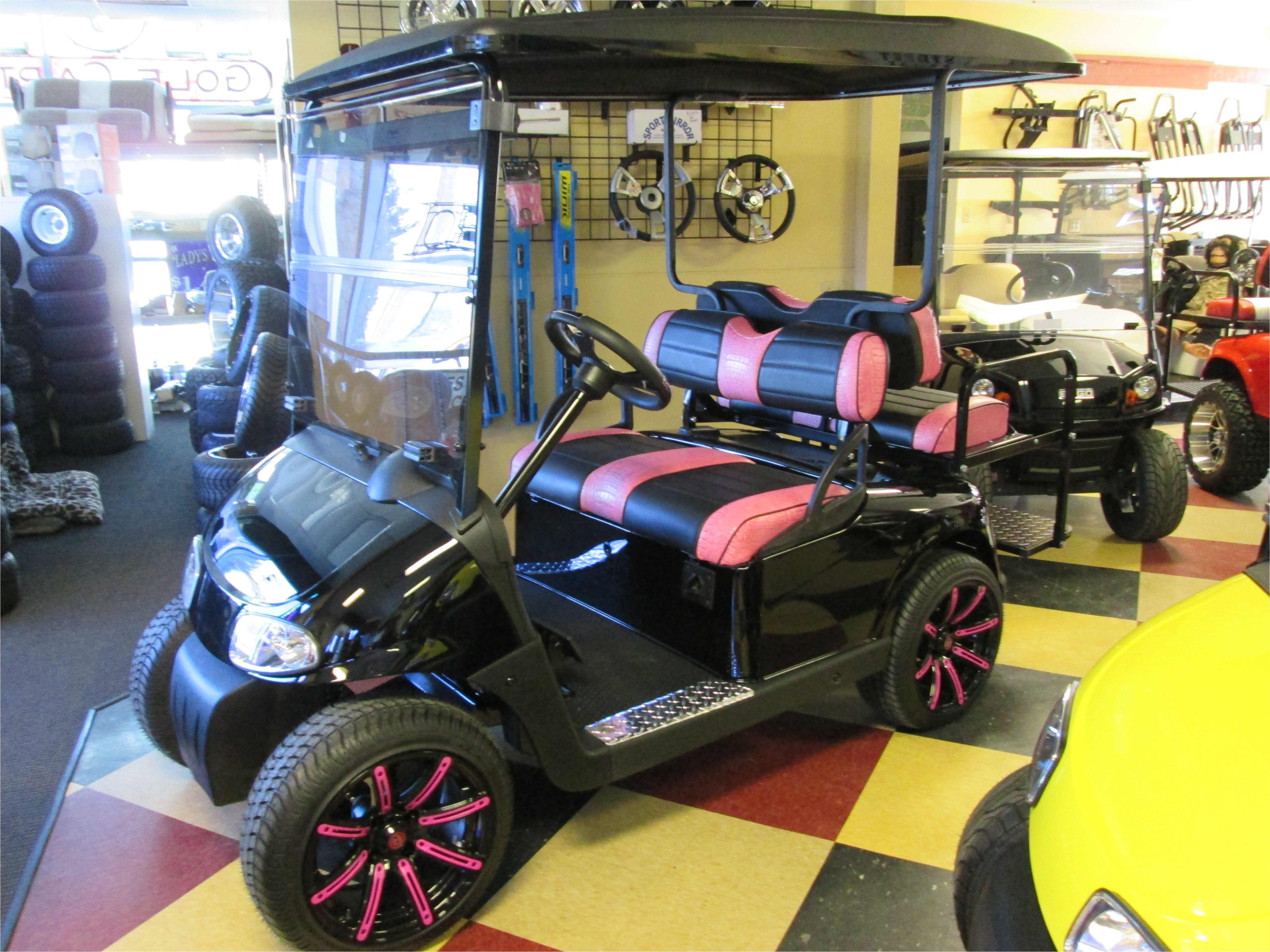 custom pink black golf cart upholstery