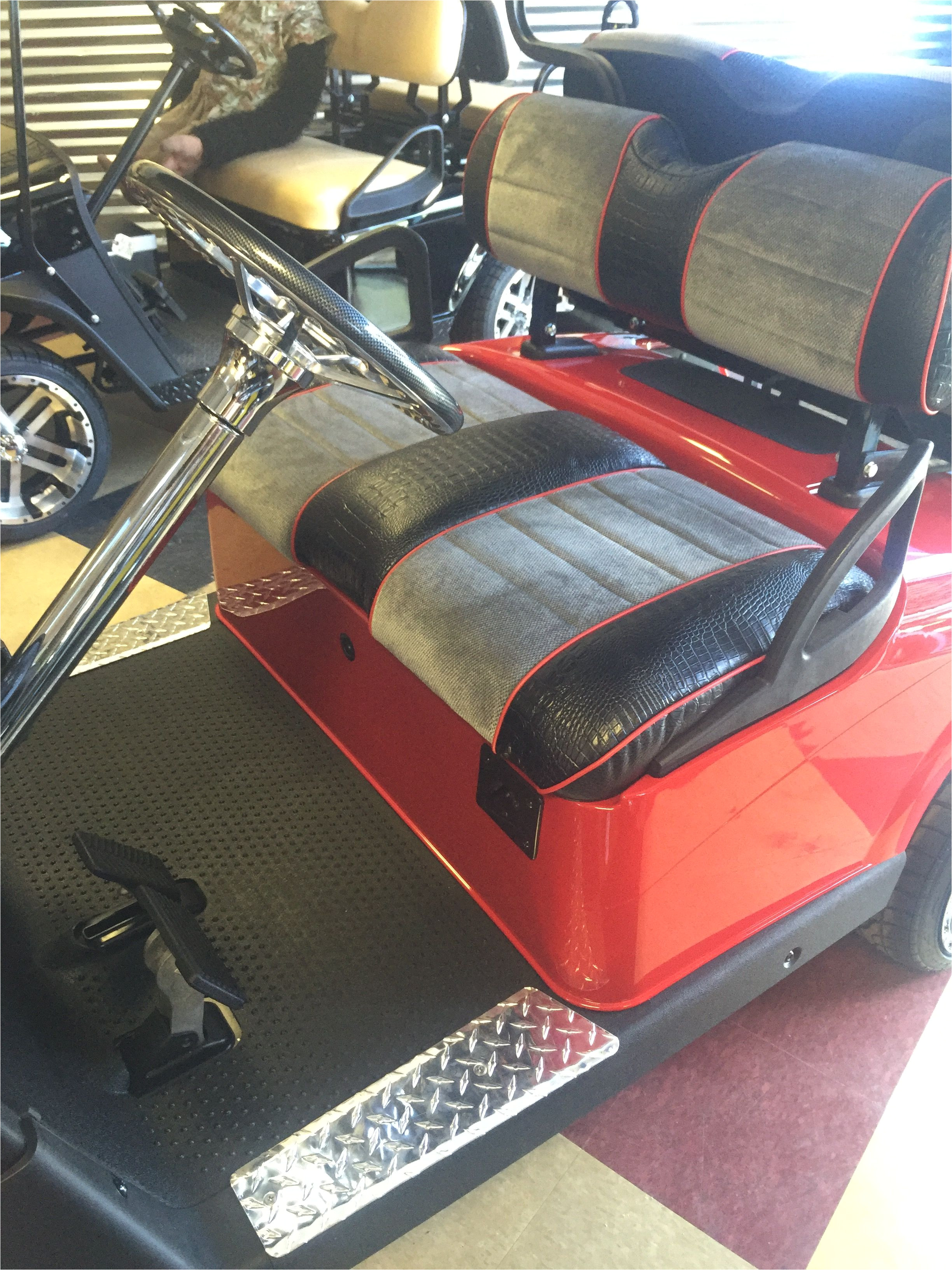 custom red grey black golf cart upholstery