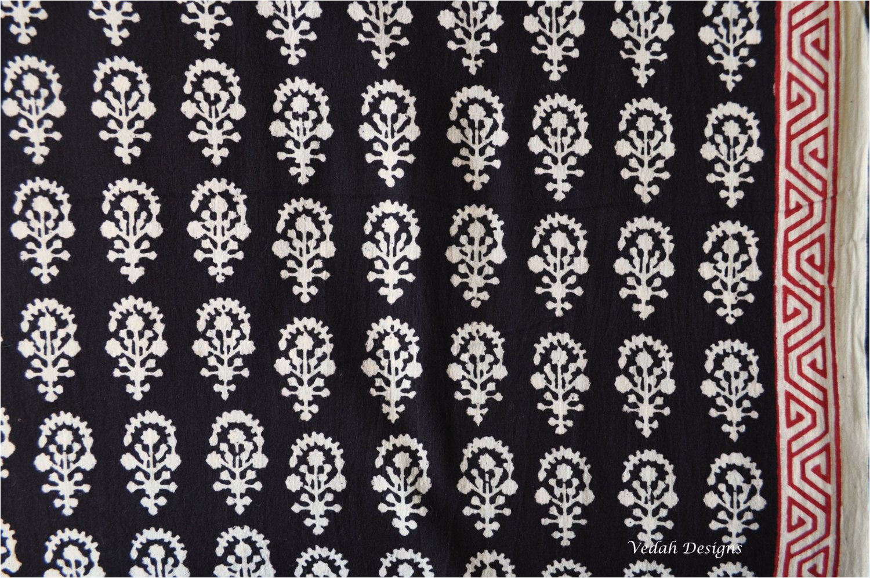 indian flower design black block print fabric indian block print cotton fabric by the yard by