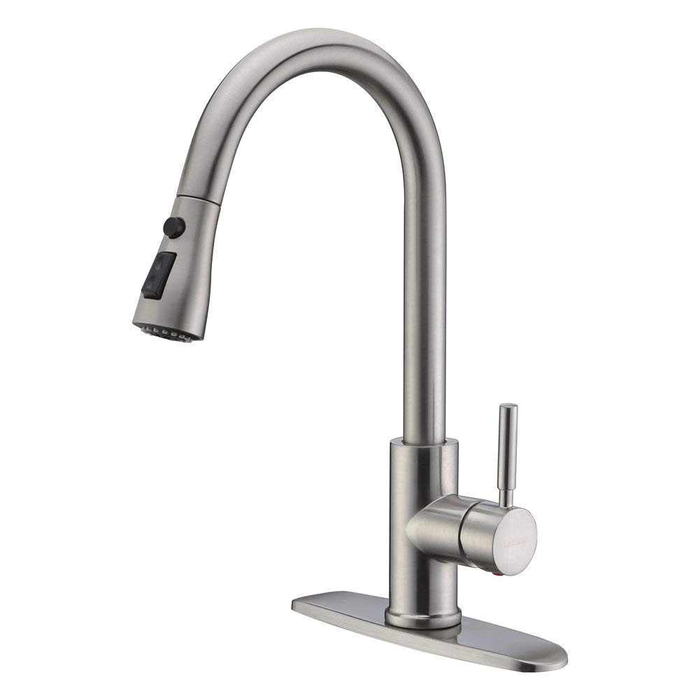 wewe single handle high arc brushed nickel pull out kitchen faucet single level stainless steel
