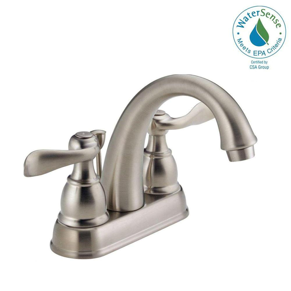 centerset 2 handle bathroom faucet with metal drain assembly in