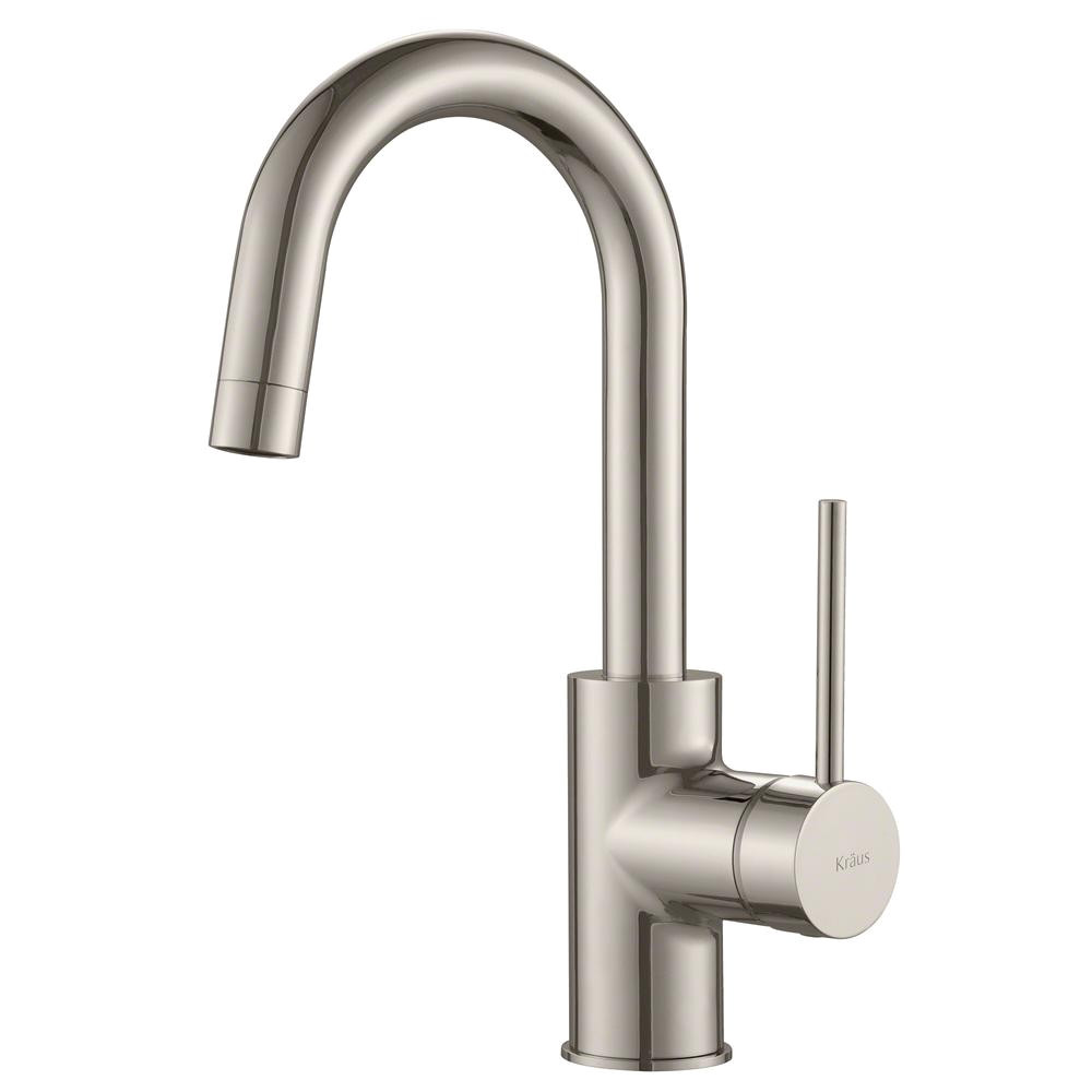 kraus oletto single handle kitchen bar faucet in spot free stainless steel