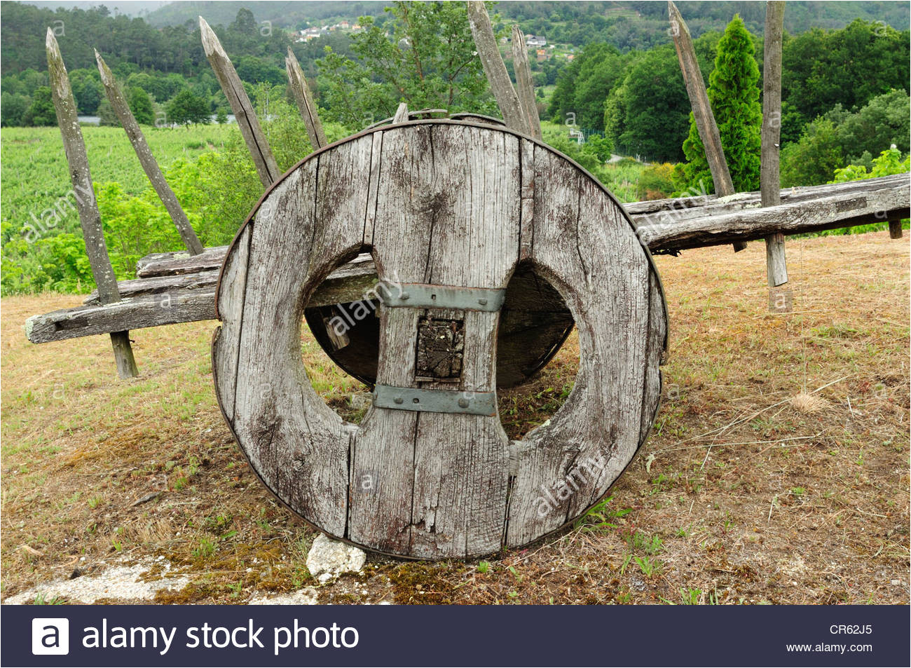 old farmer cart galicia spain stock image