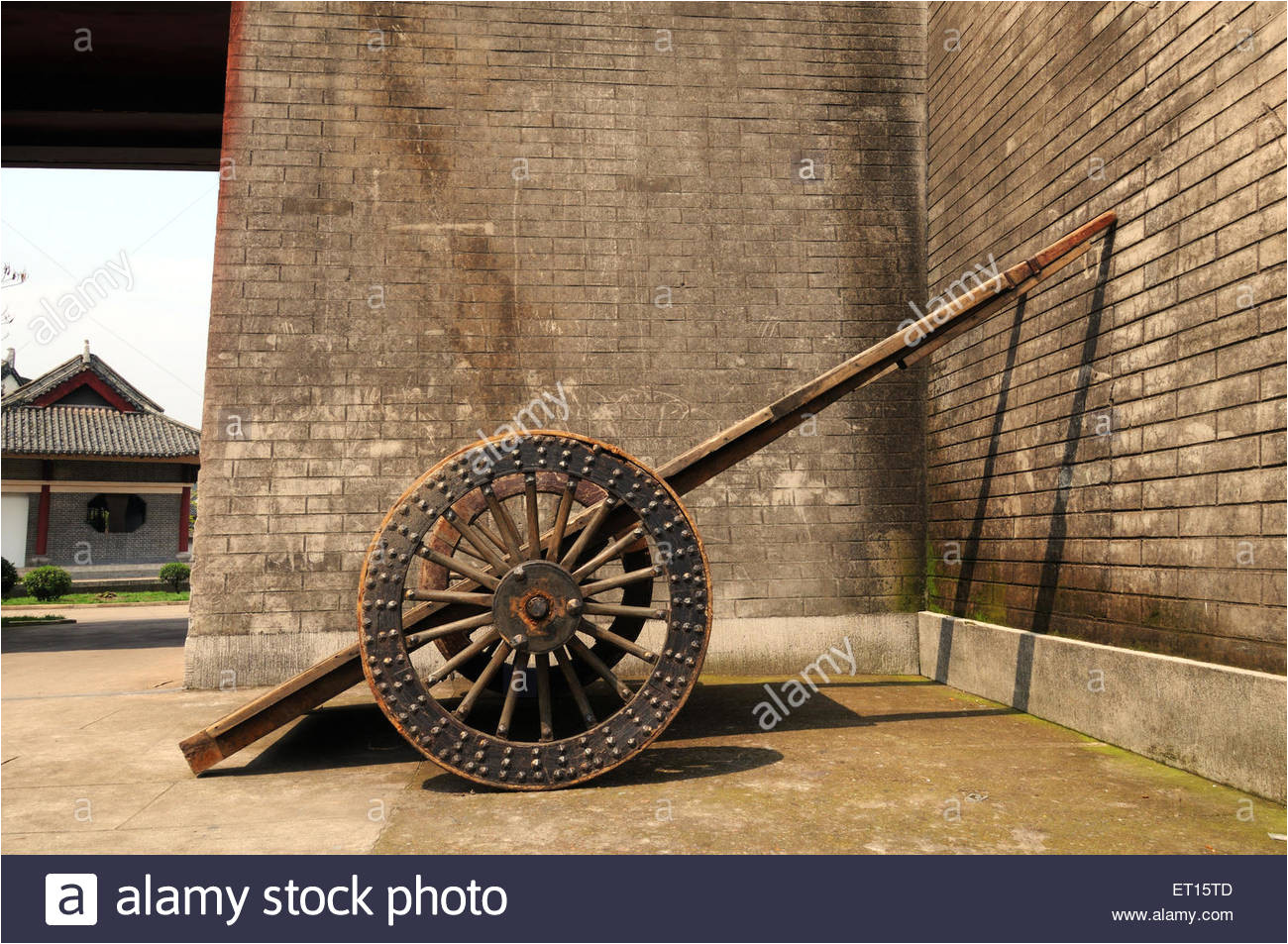 wheel cart parked along palace wall dong yang china stock image